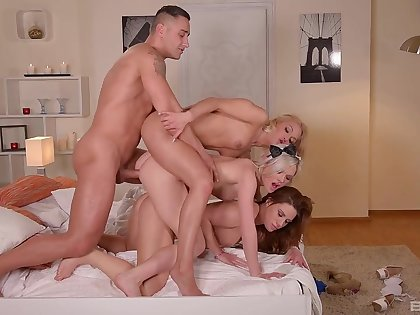 Insane home porn with a man and three tight bitches