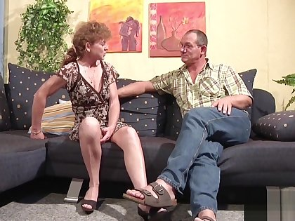 71yr old Hairy Granny fucks with German Man in Casting