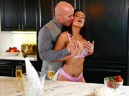 Busty pornstar Luna Star loves to be fucked on burnish apply pantry table
