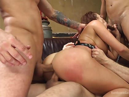 Double penetration rough gangbang for redhead slut Britney Amber