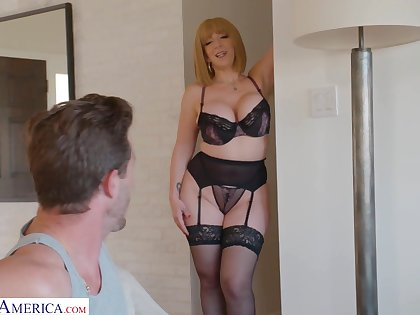 Curvaceous mammy in morose undergarments Sara Jay seduces young stepson
