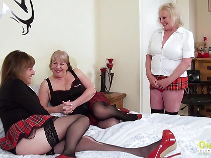 Threesome sexual bunch with three busty british lesbian matures and sex toys