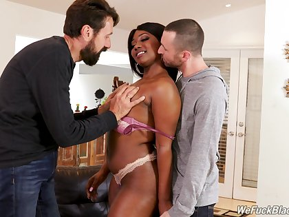 Wondrous sombre lady with huge black booty Skyler Nicole works on cocks of white dudes