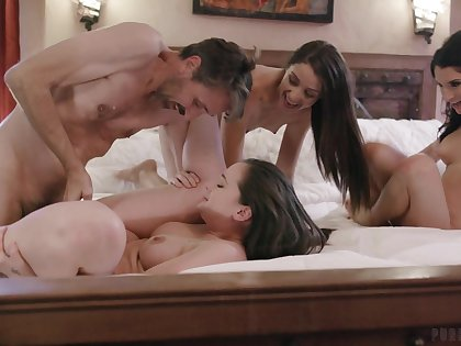 Lively hotties Gia Paige, Avi Love and Silvia Saige tract a stud