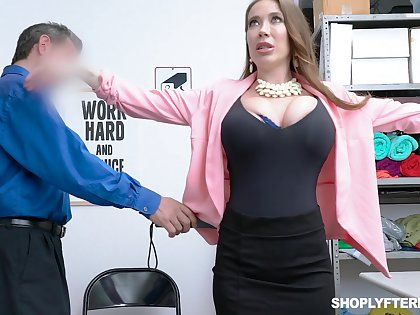 Brobdingnagian breasted slutty MILF Bianca Burke is bent over added to fucked doggy by police officer