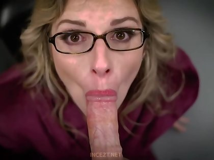Beamy titted, tow-headed mommy is eagerly sucking dick to get to steadfast barely satisfactory be worthwhile for will not hear of trimmed pussy